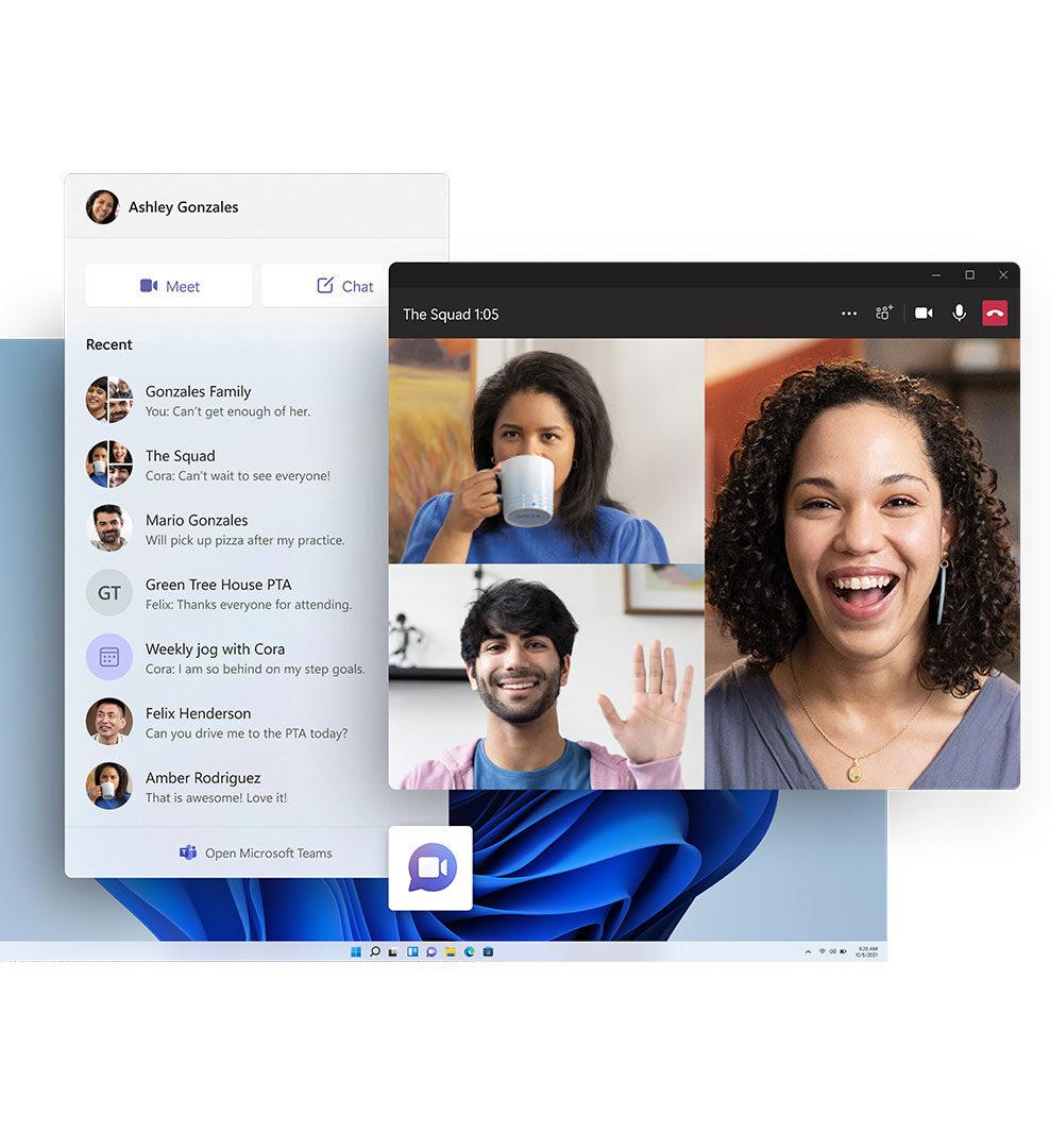Экран Windows 11 с приложением Microsoft Teams и значком панели задач